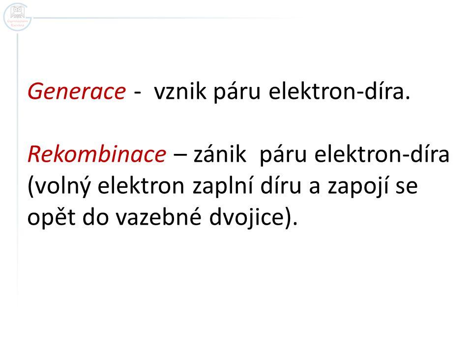 Generace - vznik páru elektron-díra.