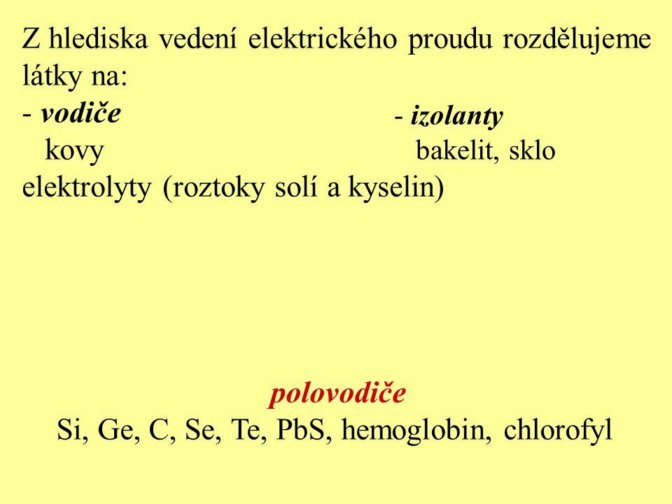 Si, Ge, C, Se, Te, PbS, hemoglobin, chlorofyl