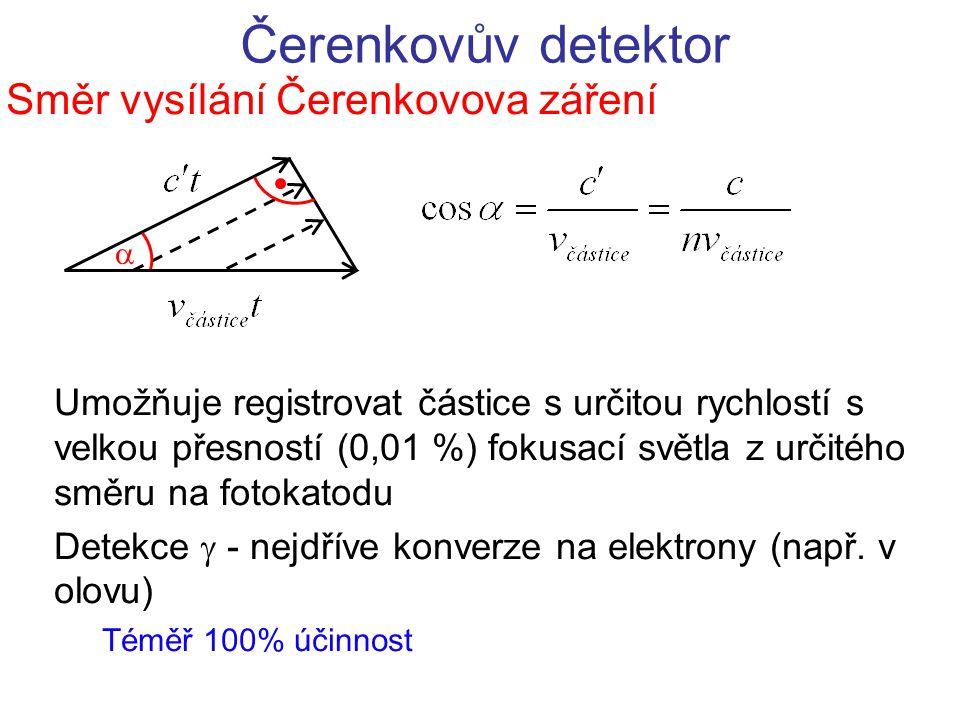 Čerenkovův detektor Směr vysílání Čerenkovova záření