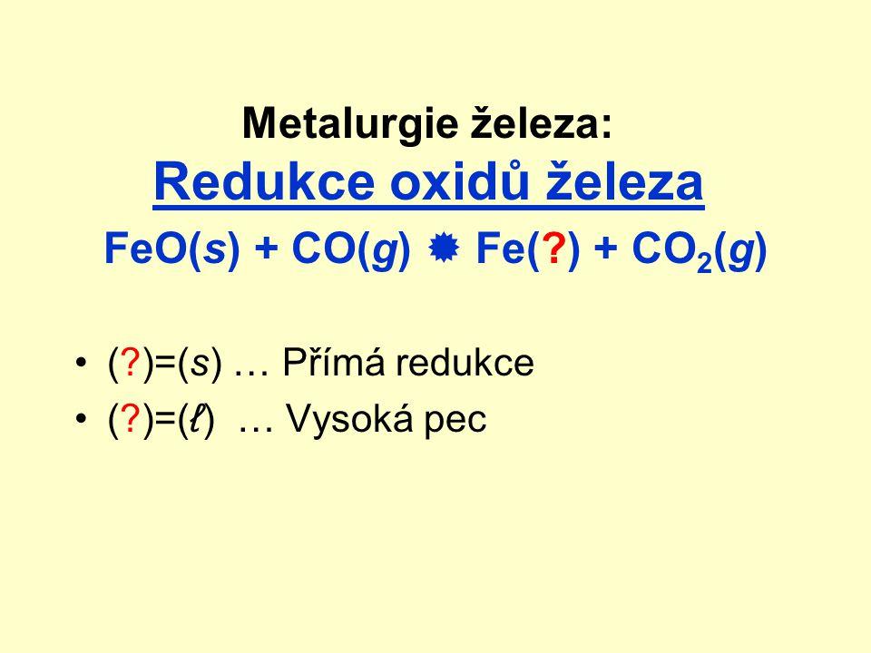 Metalurgie železa: Redukce oxidů železa FeO(s) + CO(g)  Fe(