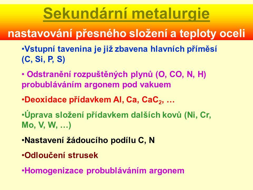 Sekundární metalurgie nastavování přesného složení a teploty oceli