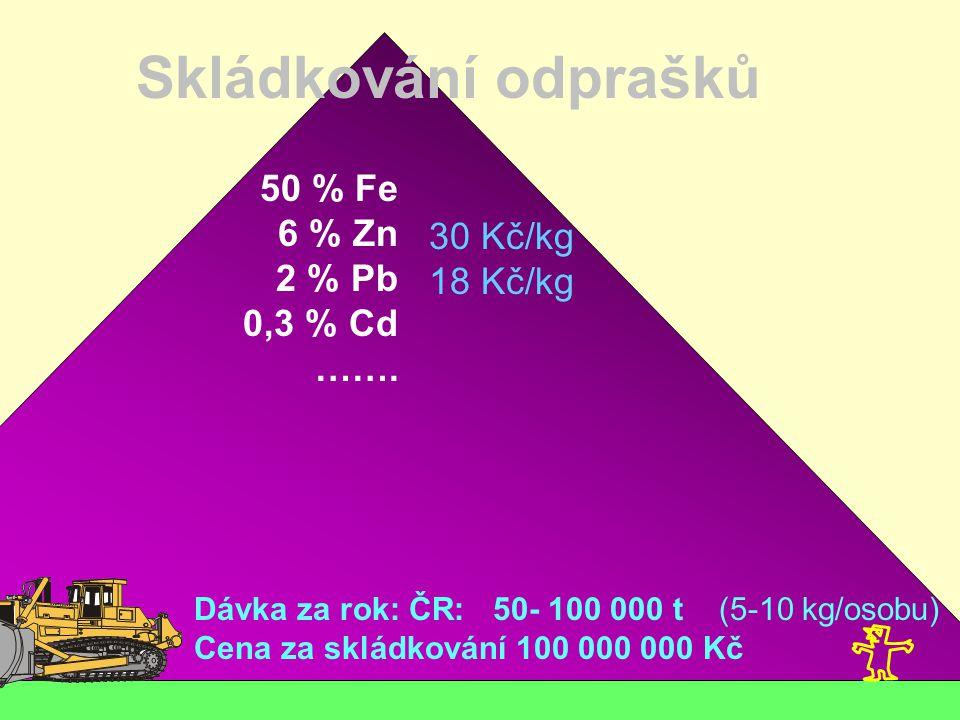 Skládkování odprašků 50 % Fe 6 % Zn 2 % Pb 30 Kč/kg 0,3 % Cd 18 Kč/kg