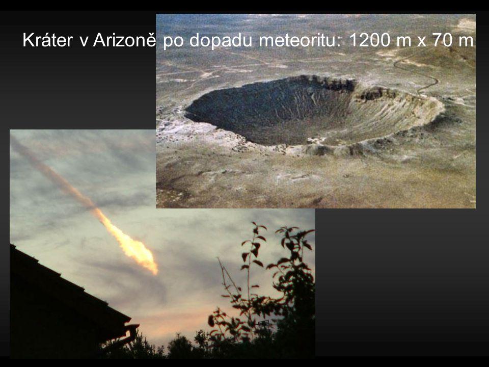 Kráter v Arizoně po dopadu meteoritu: 1200 m x 70 m