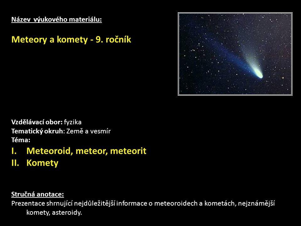 Meteory a komety - 9. ročník
