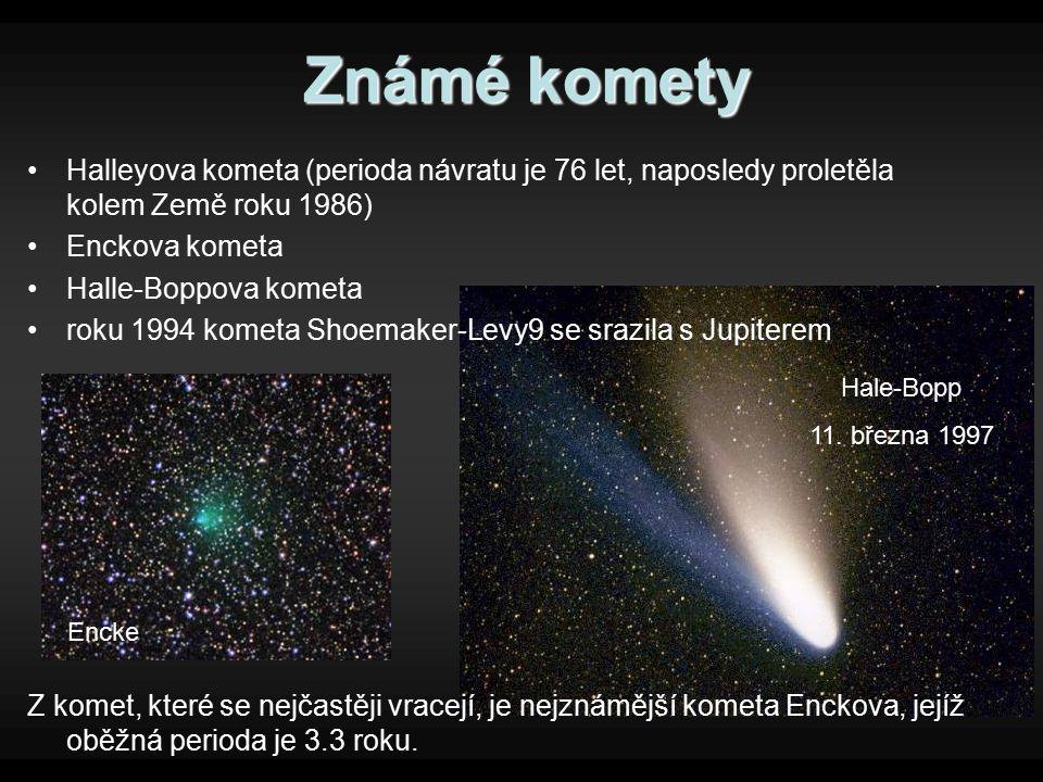Známé komety Halleyova kometa (perioda návratu je 76 let, naposledy proletěla kolem Země roku 1986)