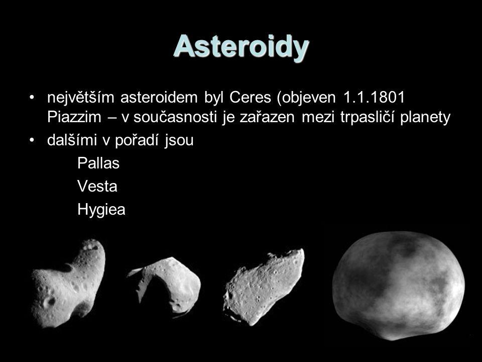 Asteroidy největším asteroidem byl Ceres (objeven 1.1.1801 Piazzim – v současnosti je zařazen mezi trpasličí planety.