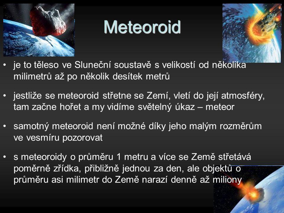 Meteoroid je to těleso ve Sluneční soustavě s velikostí od několika milimetrů až po několik desítek metrů.