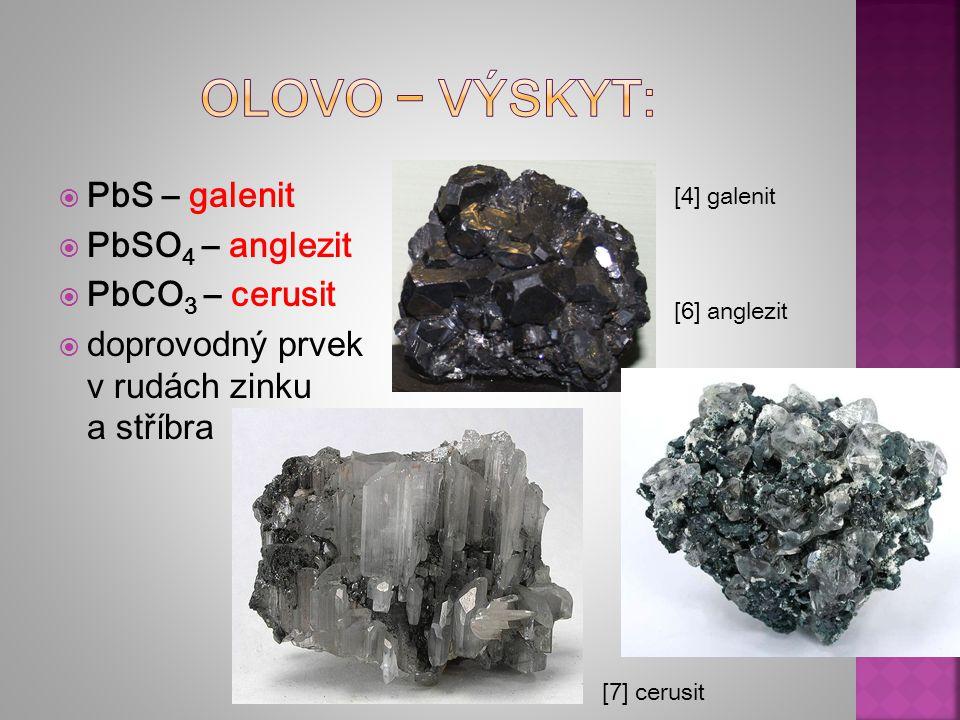 Olovo − výskyt: PbS – galenit PbSO4 – anglezit PbCO3 – cerusit