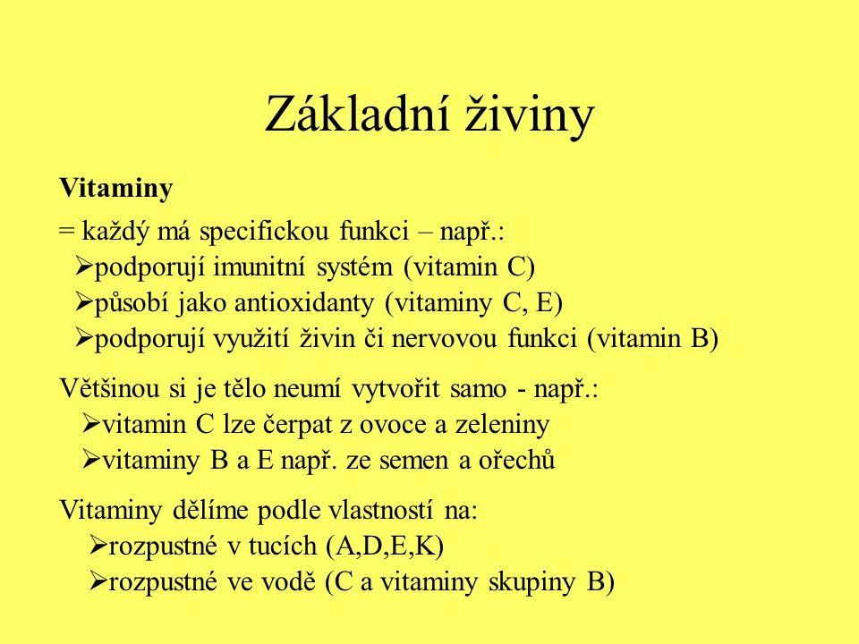 Základní živiny Vitaminy = každý má specifickou funkci – např.: