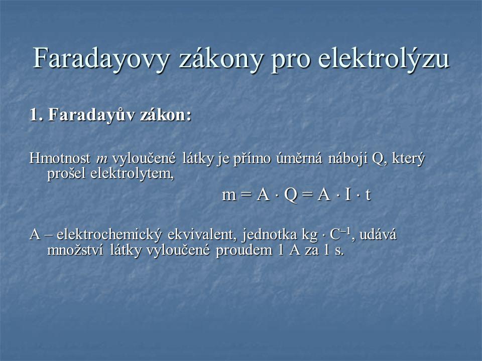 Faradayovy zákony pro elektrolýzu