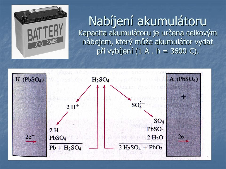 Nabíjení akumulátoru Kapacita akumulátoru je určena celkovým nábojem, který může akumulátor vydat při vybíjení (1 A .
