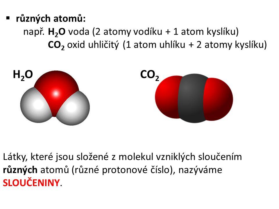 různých atomů: např. H2O voda (2 atomy vodíku + 1 atom kyslíku) CO2 oxid uhličitý (1 atom uhlíku + 2 atomy kyslíku)