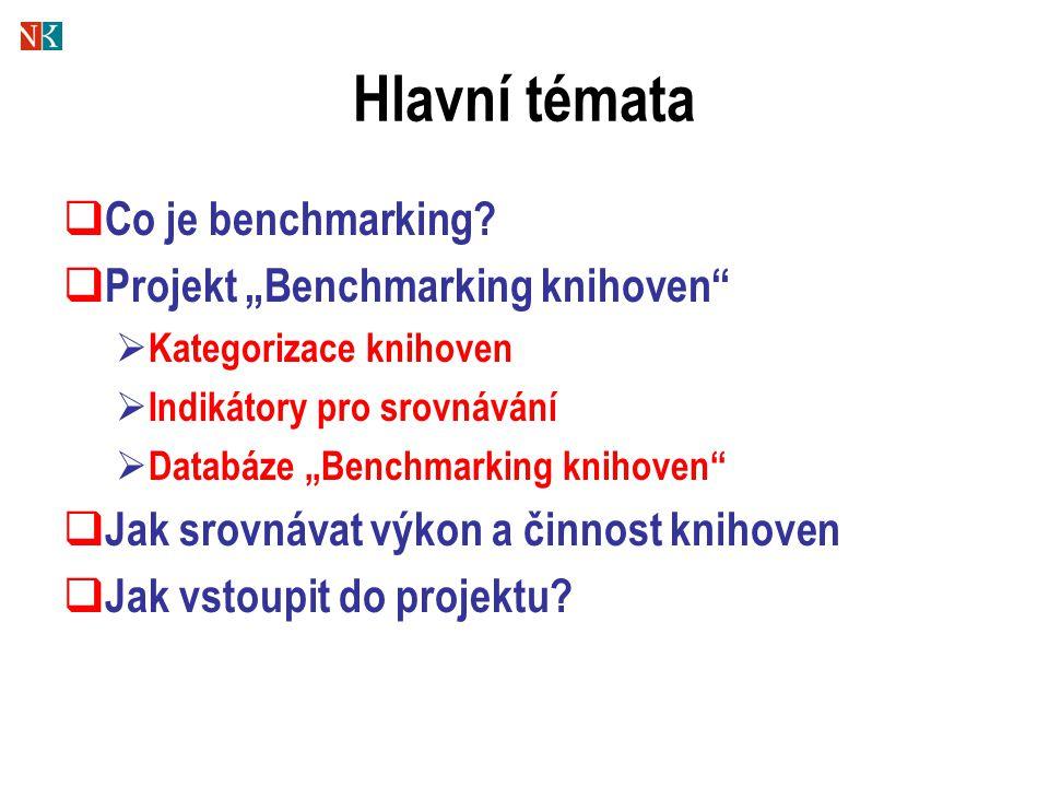 """Hlavní témata Co je benchmarking Projekt """"Benchmarking knihoven"""