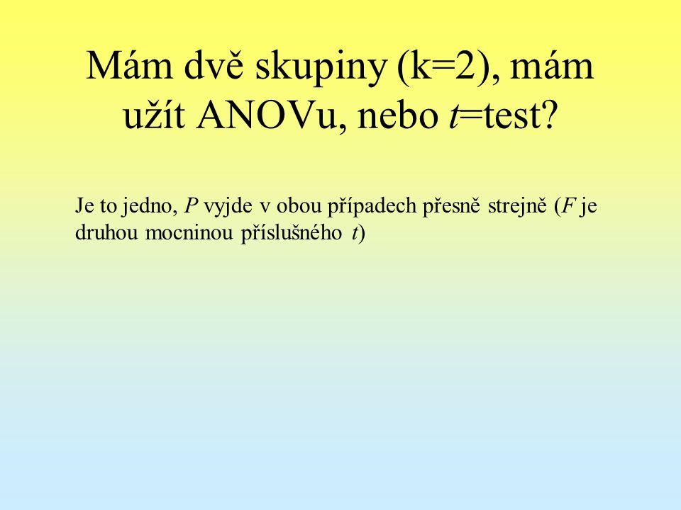 Mám dvě skupiny (k=2), mám užít ANOVu, nebo t=test