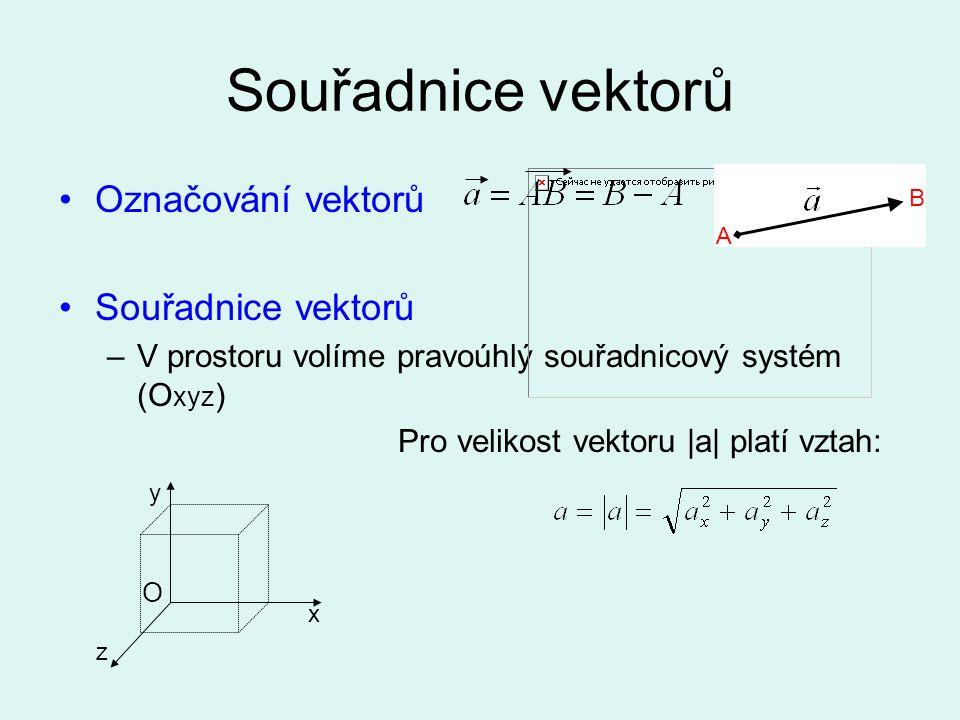 Souřadnice vektorů Označování vektorů Souřadnice vektorů