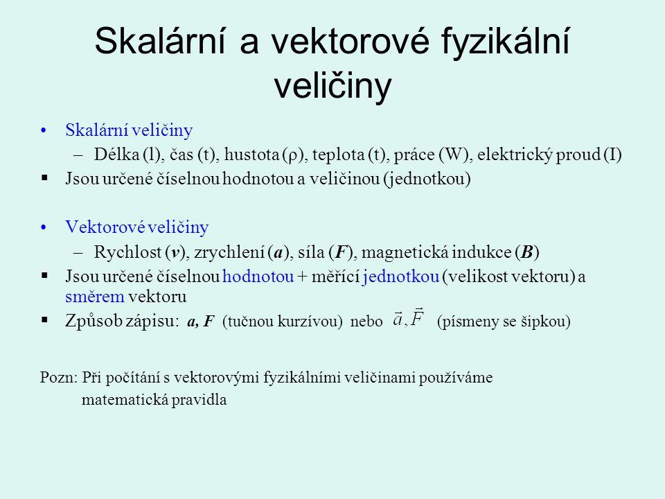 Skalární a vektorové fyzikální veličiny