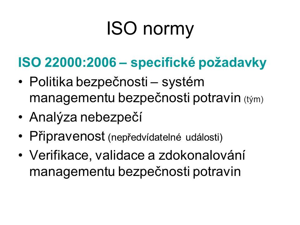 ISO normy ISO 22000:2006 – specifické požadavky