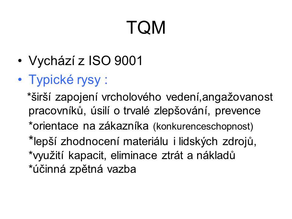 TQM Vychází z ISO 9001 Typické rysy :