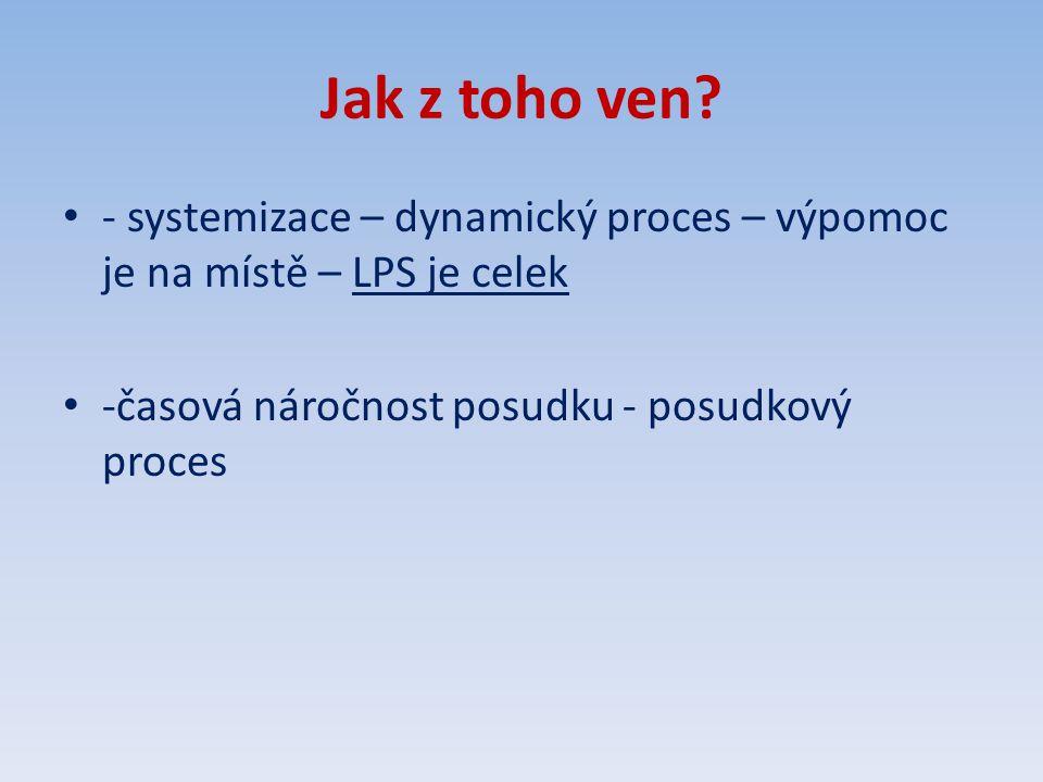 Jak z toho ven. - systemizace – dynamický proces – výpomoc je na místě – LPS je celek.