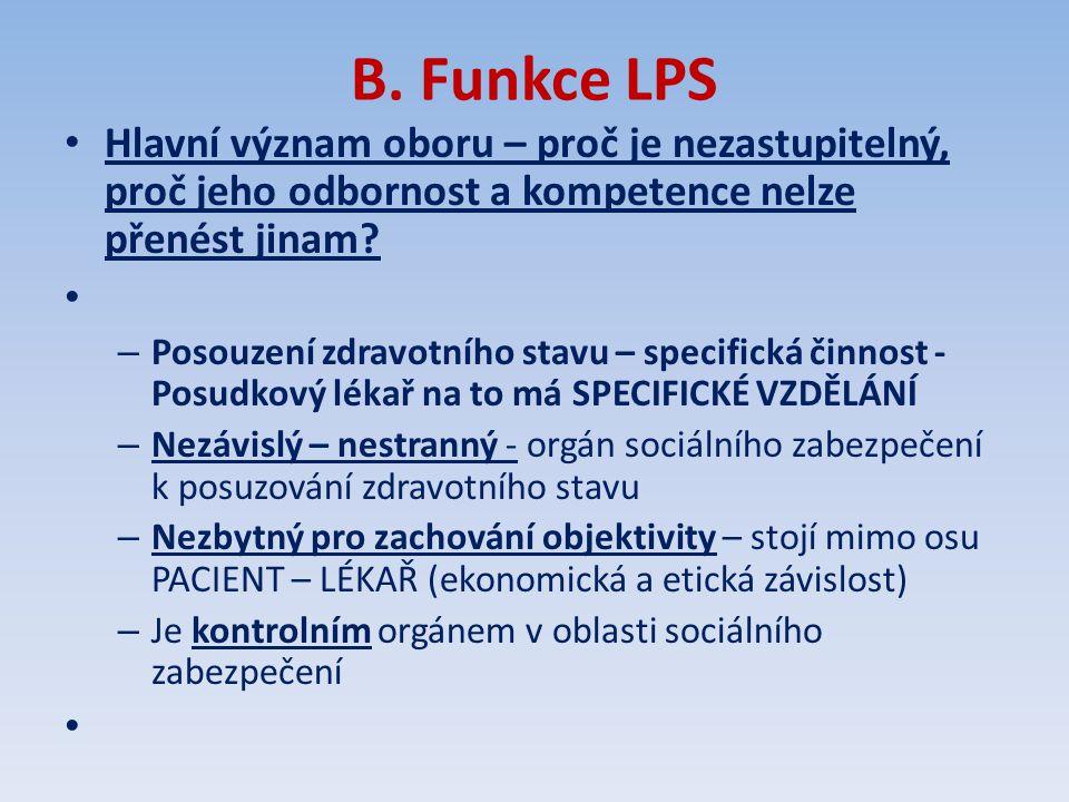 B. Funkce LPS Hlavní význam oboru – proč je nezastupitelný, proč jeho odbornost a kompetence nelze přenést jinam