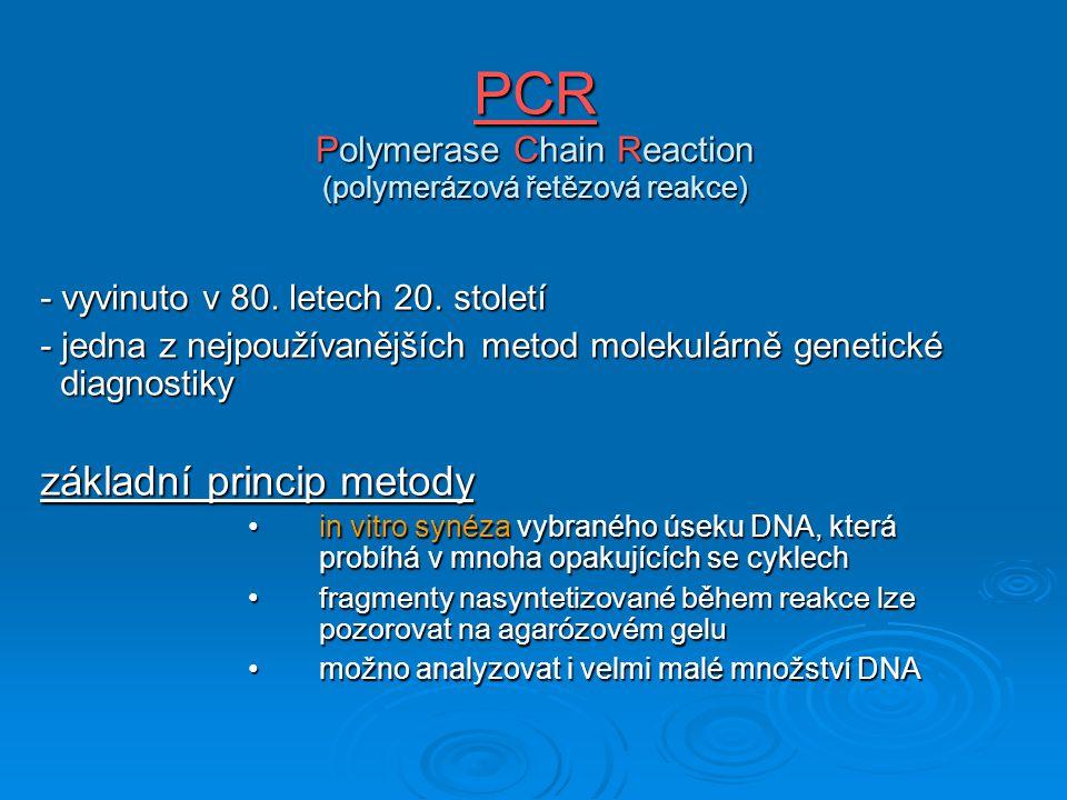 PCR Polymerase Chain Reaction (polymerázová řetězová reakce)
