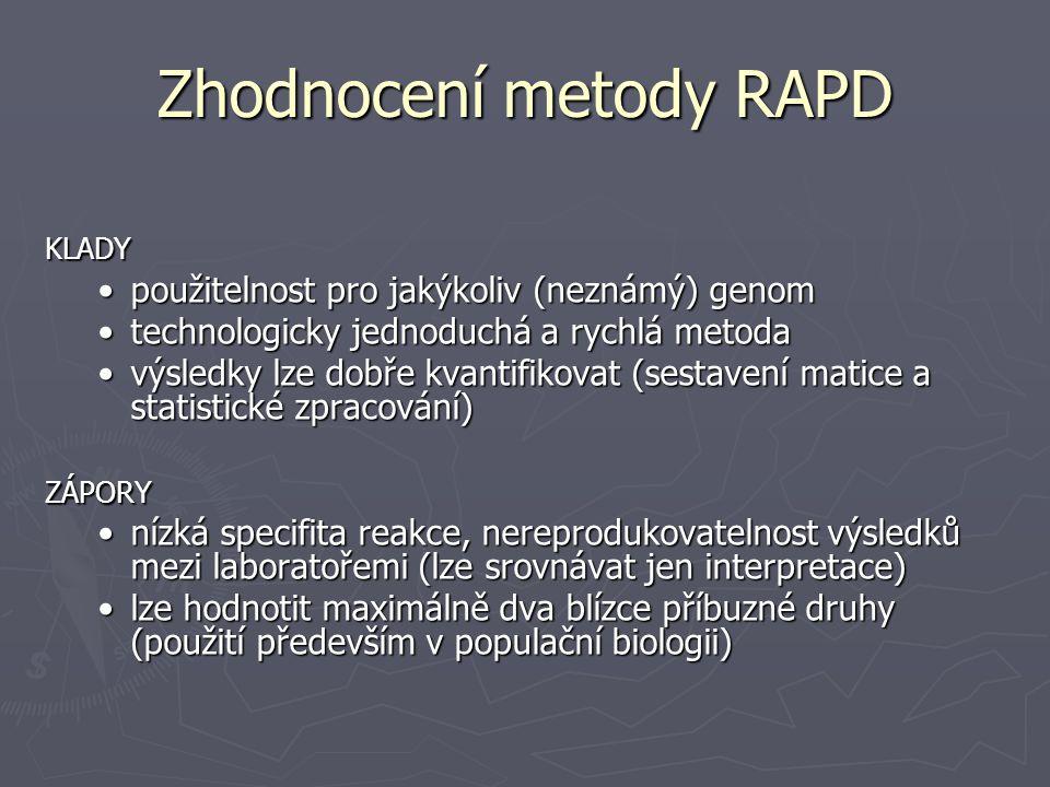 Zhodnocení metody RAPD