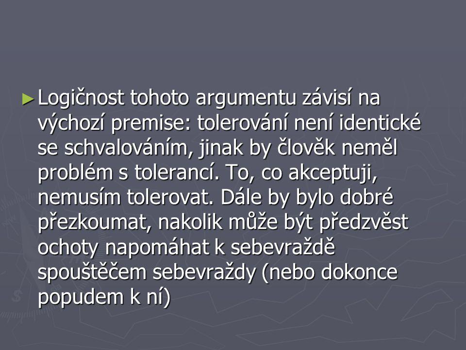 Logičnost tohoto argumentu závisí na výchozí premise: tolerování není identické se schvalováním, jinak by člověk neměl problém s tolerancí.