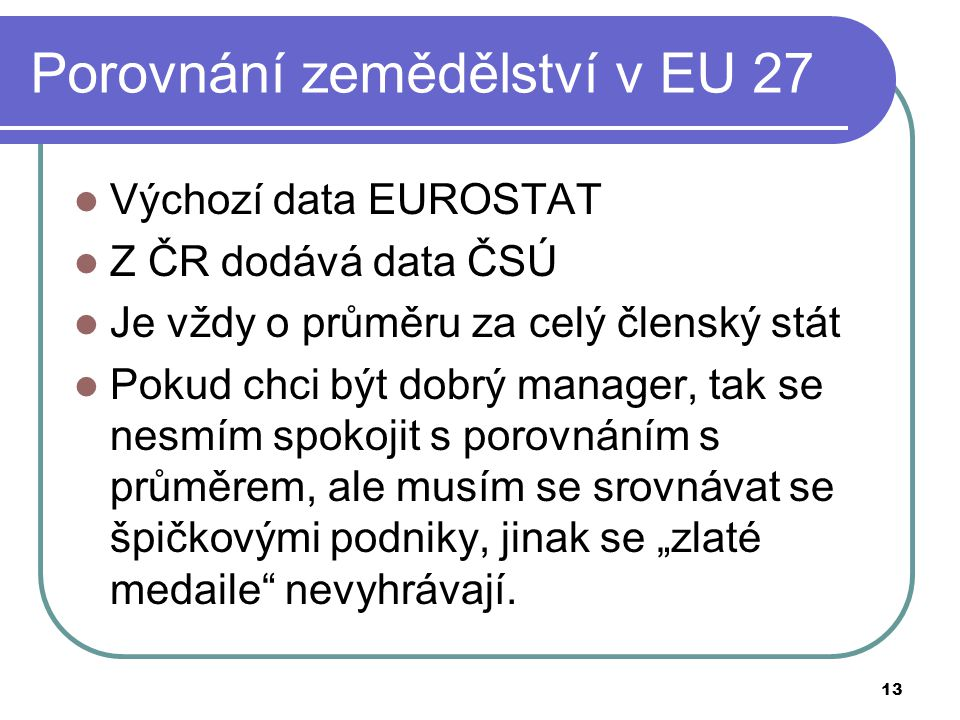 Porovnání zemědělství v EU 27