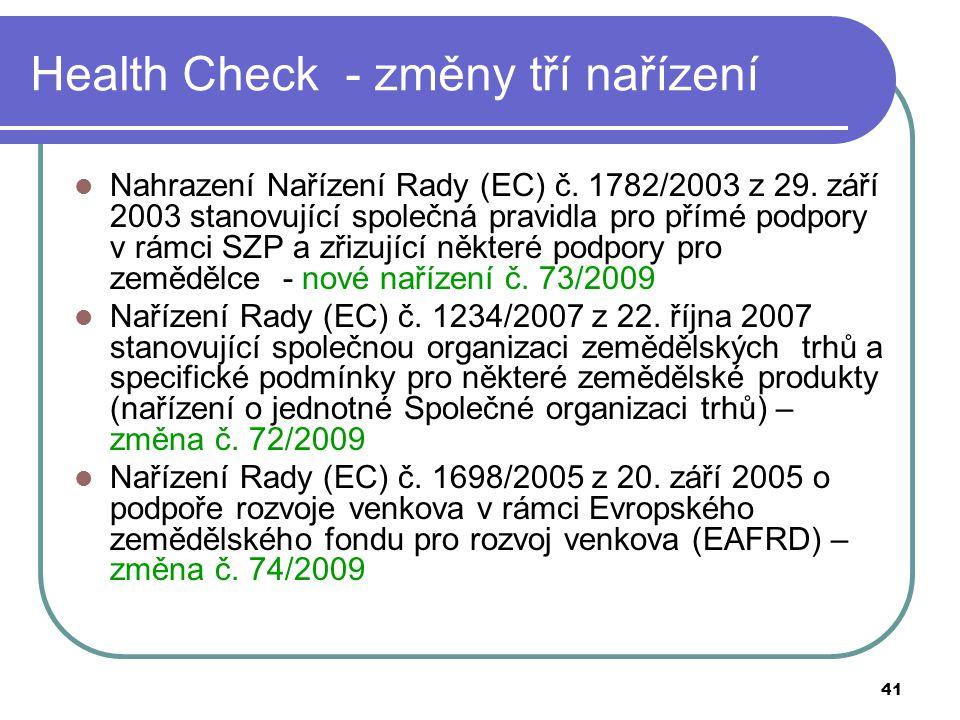 Health Check - změny tří nařízení