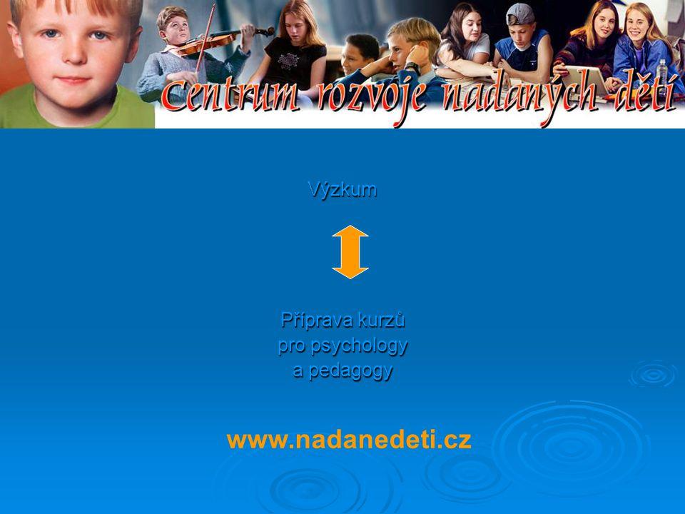 Výzkum Příprava kurzů pro psychology a pedagogy www.nadanedeti.cz