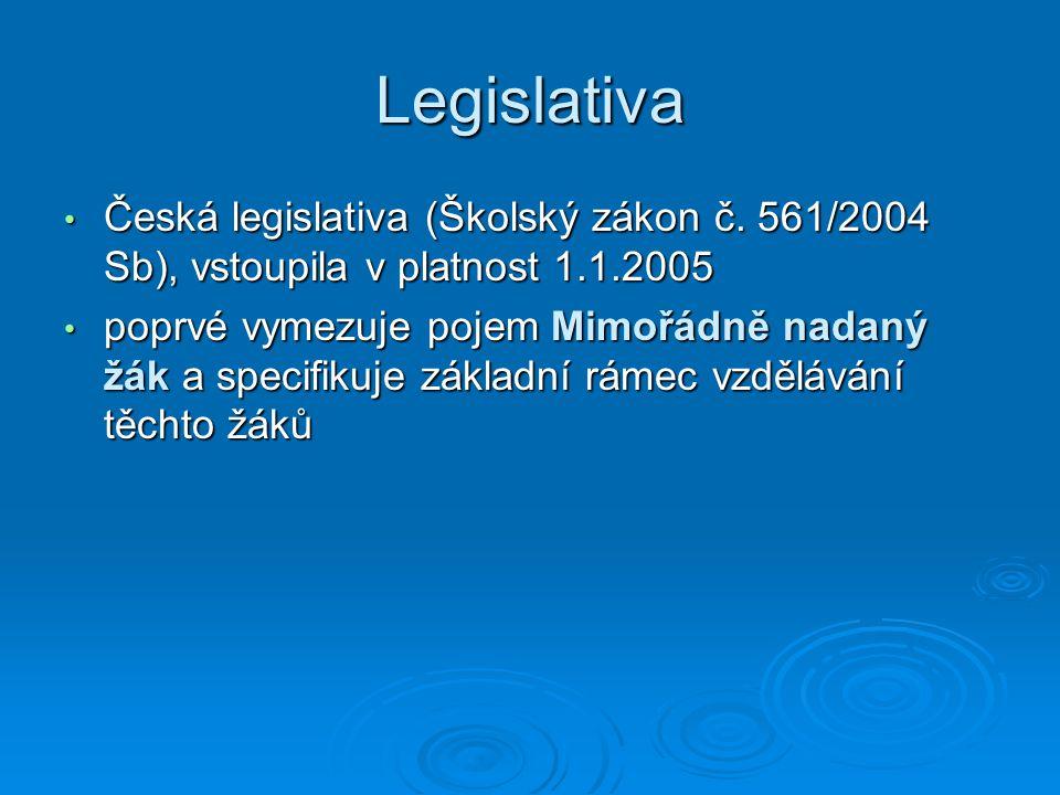 Legislativa Česká legislativa (Školský zákon č. 561/2004 Sb), vstoupila v platnost 1.1.2005.