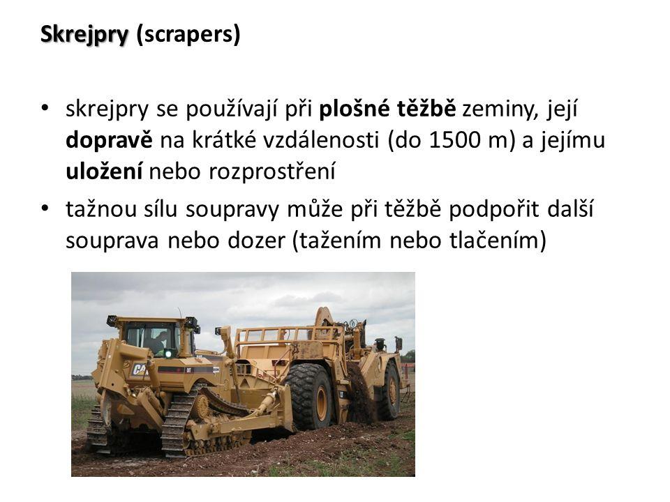 Skrejpry (scrapers) skrejpry se používají při plošné těžbě zeminy, její dopravě na krátké vzdálenosti (do 1500 m) a jejímu uložení nebo rozprostření.