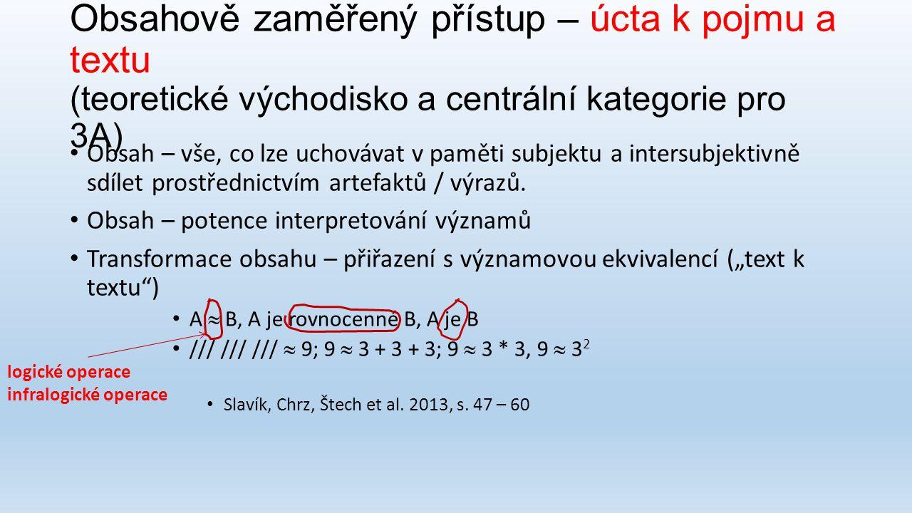 Obsahově zaměřený přístup – úcta k pojmu a textu (teoretické východisko a centrální kategorie pro 3A)