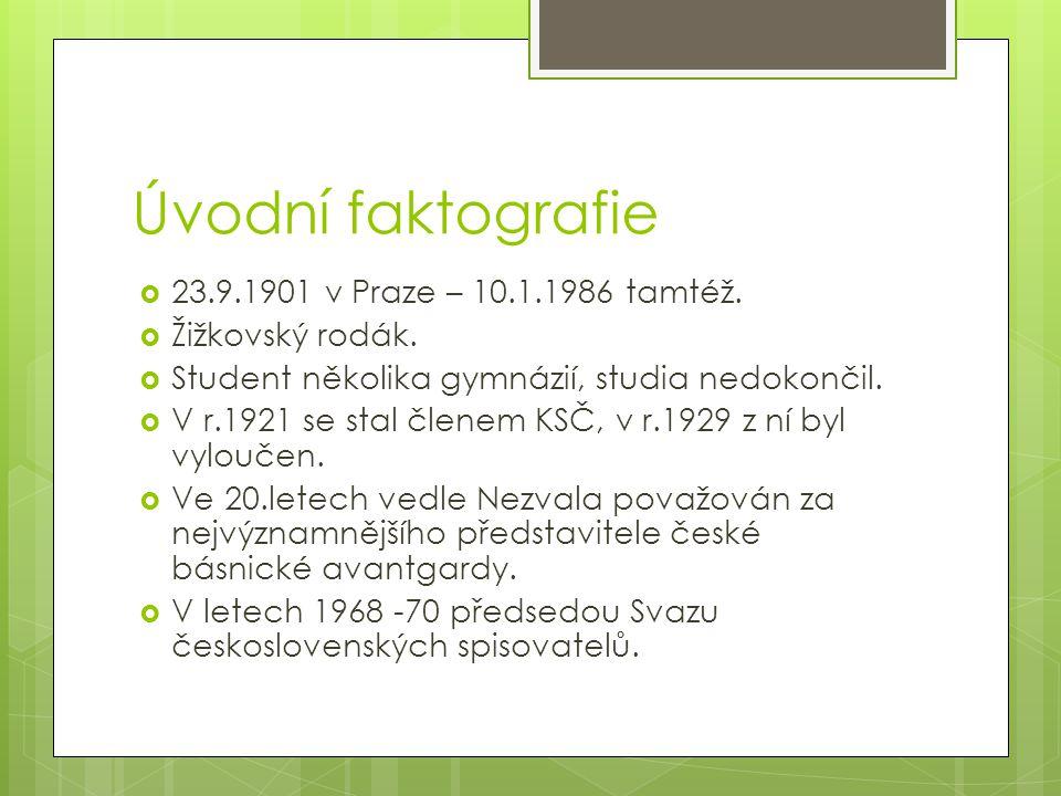 Úvodní faktografie 23.9.1901 v Praze – 10.1.1986 tamtéž.