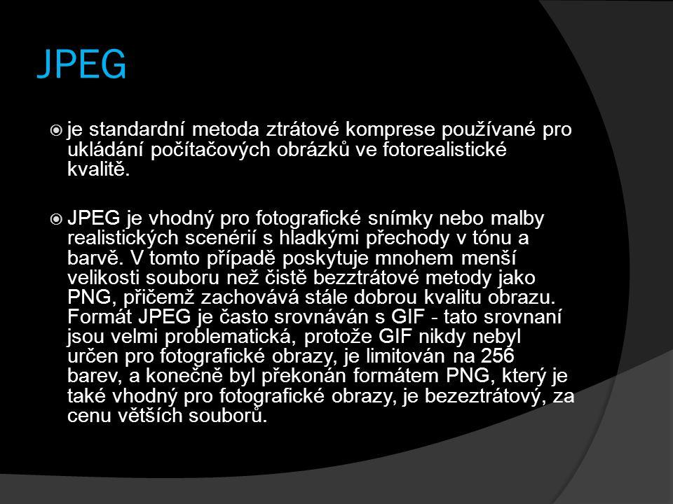 JPEG je standardní metoda ztrátové komprese používané pro ukládání počítačových obrázků ve fotorealistické kvalitě.