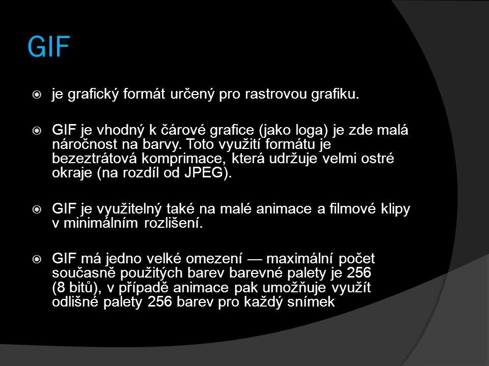 GIF je grafický formát určený pro rastrovou grafiku.