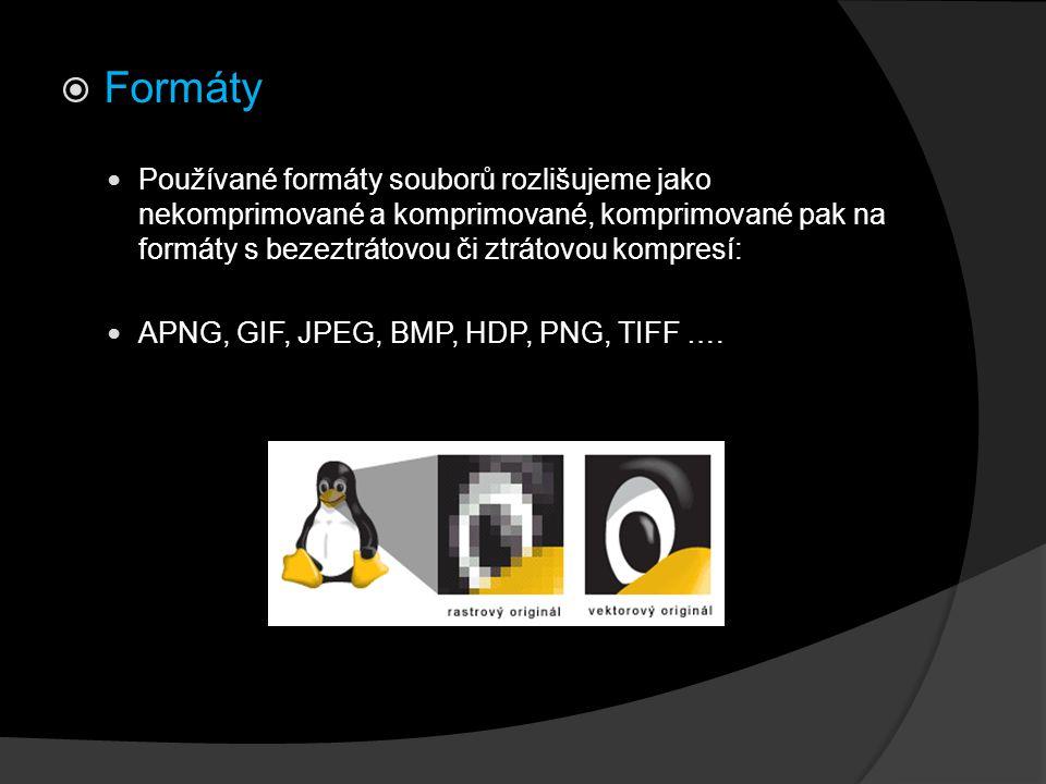 Formáty Používané formáty souborů rozlišujeme jako nekomprimované a komprimované, komprimované pak na formáty s bezeztrátovou či ztrátovou kompresí: