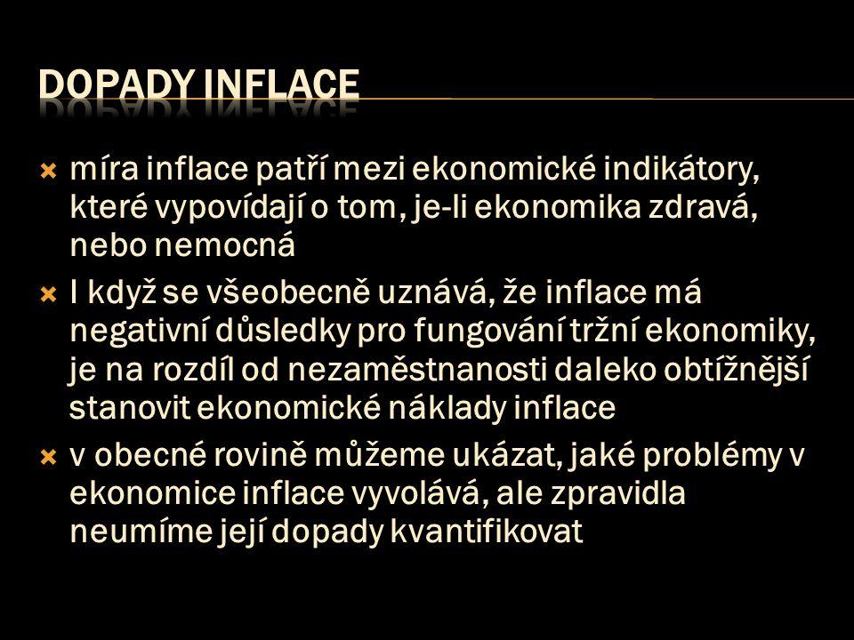 dopady INFLACE míra inflace patří mezi ekonomické indikátory, které vypovídají o tom, je-li ekonomika zdravá, nebo nemocná.
