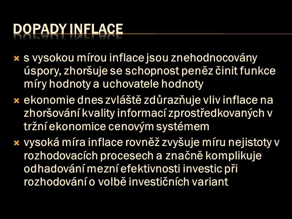 Dopady inflace s vysokou mírou inflace jsou znehodnocovány úspory, zhoršuje se schopnost peněz činit funkce míry hodnoty a uchovatele hodnoty.