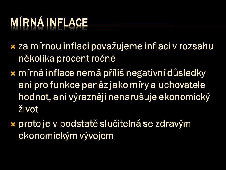 mírná inflace za mírnou inflaci považujeme inflaci v rozsahu několika procent ročně.