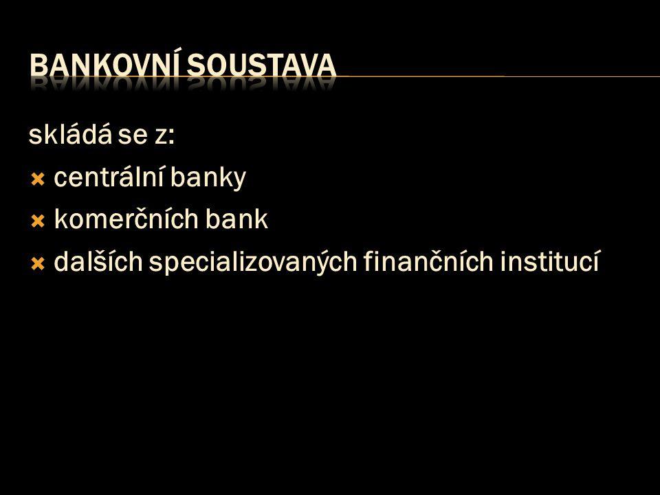bankovní soustava skládá se z: centrální banky komerčních bank