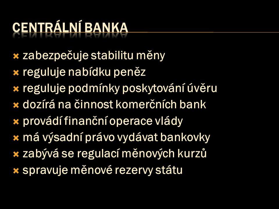centrální banka zabezpečuje stabilitu měny reguluje nabídku peněz