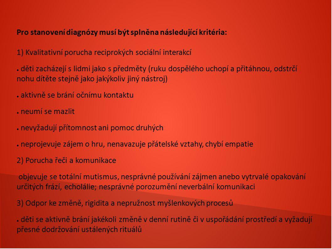 Pro stanovení diagnózy musí být splněna následující kritéria: