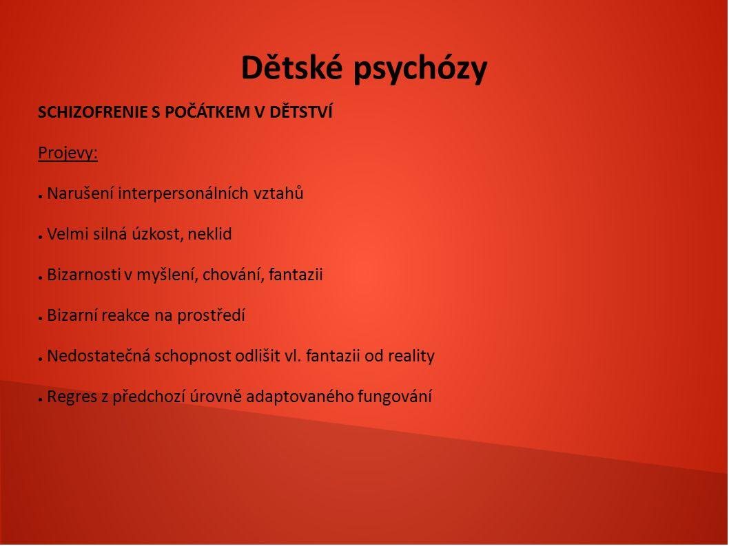 Dětské psychózy SCHIZOFRENIE S POČÁTKEM V DĚTSTVÍ Projevy: