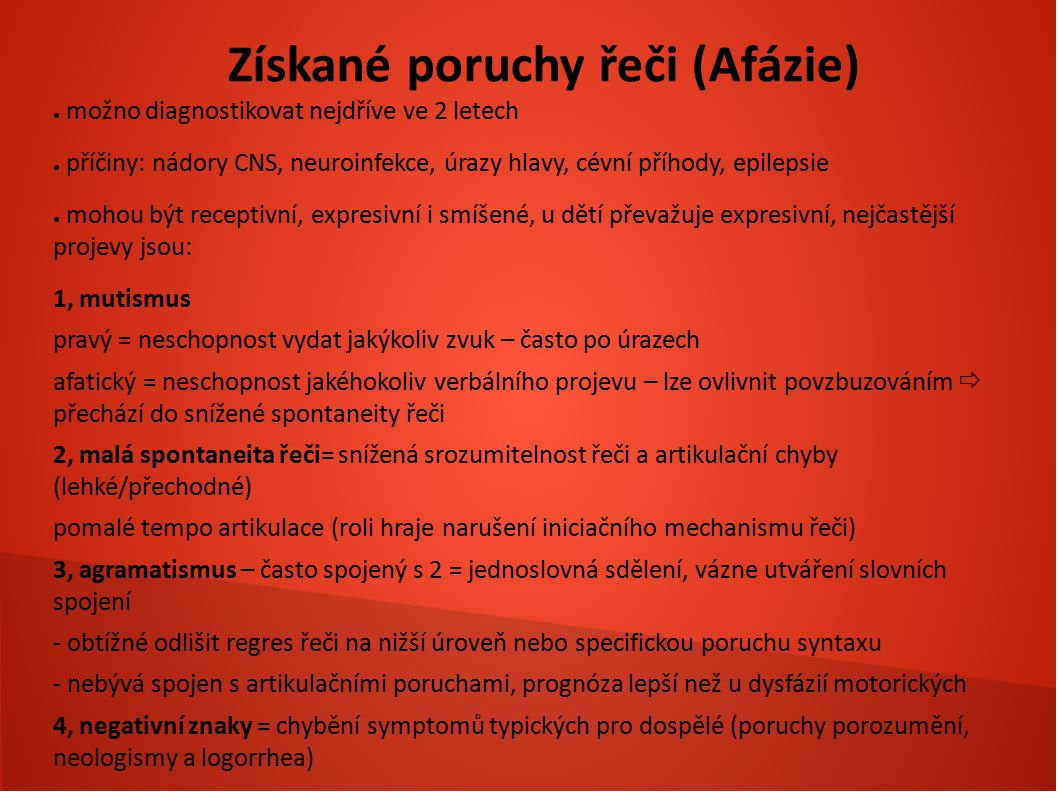 Získané poruchy řeči (Afázie)