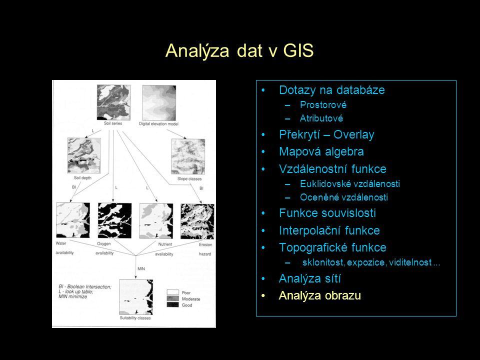 Analýza dat v GIS Dotazy na databáze Překrytí – Overlay Mapová algebra
