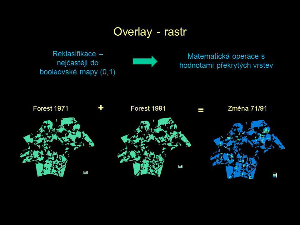 Overlay - rastr Reklasifikace – nejčastěji do booleovské mapy (0,1) Matematická operace s hodnotami překrytých vrstev.