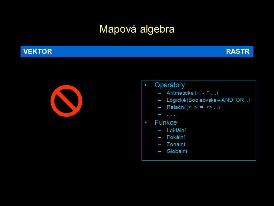 Mapová algebra VEKTOR RASTR Operátory Funkce