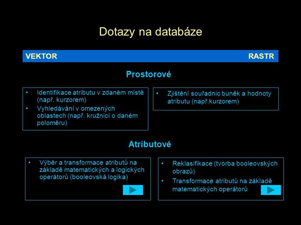 Dotazy na databáze Prostorové Atributové VEKTOR RASTR