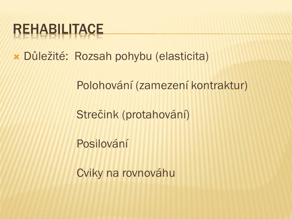 Rehabilitace Důležité: Rozsah pohybu (elasticita)